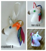 """Unicorn Hairclips and Christmas Ornaments with sparkle & glitter 4"""" tall - $2.97"""