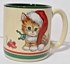 Tabby Kitten Cat Coffee Tea Mug Cup Christmas Santa Hat Stocking Mouse K... - $8.59