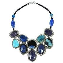 AeraVida Round Reconstructed Purple-Blue Agate Mosaic Bib Statement Neck... - $82.81
