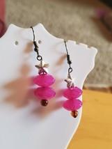 Pink Artisan Plastic Bead Dangle Hook Earrings Tony Alexander Jewelry Style Star - $9.90