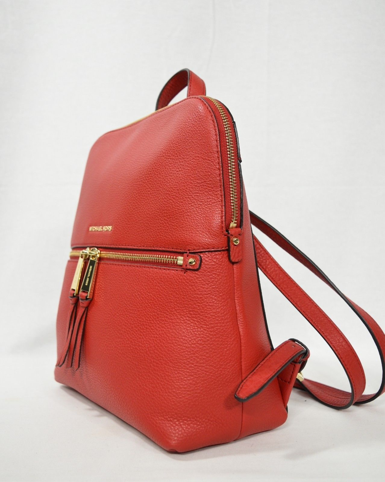aa0bea1e8cb7 S l1600. S l1600. Previous. NWT! Michael Kors Leather Rhea Zip Medium Slim  Backpack in Bright Red. NWT! Michael ...