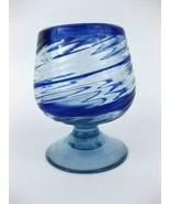 Mexican Blown Glass Cobalt Blue Rippled Swirled... - $5.00