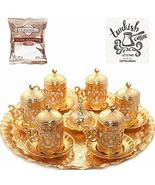 Turkish Greek Arabic Coffee Serving Cup Saucer Gift Set (Gold) - $61.00