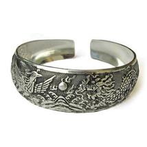 Large Tibetan Carved Sea Mountain Sunrise Dragon Phoenix Amulet Cuff Bracelet - $8.96
