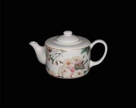 Hallmark HAWTHORNE MANOR Floral Roses Flat Top Teapot Gold Accents NWOT ... - $32.99