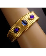 Vintage couture Bracelet - modernist blue purple cabochon bangle -  brus... - $95.00