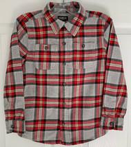 Boys Sz 7 OshKosh B'gosh Long Sleeve Plaid Gray Red Flannel Button Up Sh... - $7.91