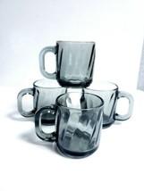 Libbey Smoke Gray Black Optic Heavy Pressed Glass 8 Oz Coffee Mugs - Set of 4 - $18.80