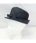 "Women Navy Blue Weave Vintage Straw Hat size 21"" Small w/ bow & Box - $44.10"