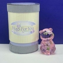 Fenton art glass Bear figurine Hugs for You nib box sculpture Rose crest... - $94.05