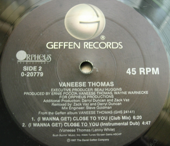 Vaneese Thomas - (I Wanna Get) Close to You - Geffen Records 0-20779