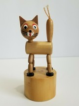 Vintage Wooden Push Up Button Cat Puppet Shaking Animal China - $40.50