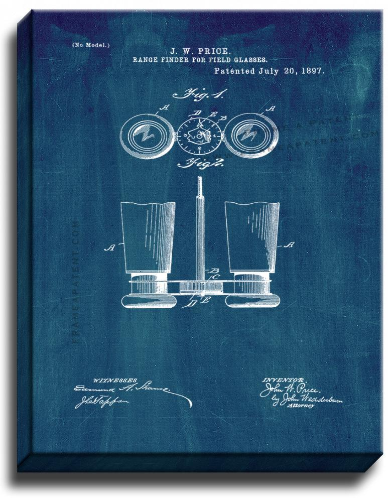 Primary image for Binoculars Patent Print Midnight Blue on Canvas