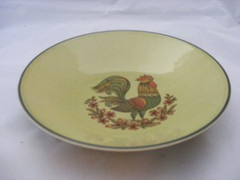 "Retro Rooster Pottery 10"" Serving Bowl Olive Green - $12.95"