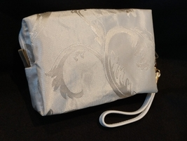 Clutch Bag/Wristlet/Makeup Bag - Single Blue Rose Applique on Ivory Brocade image 2