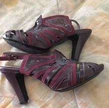 """SOFFT high heel Platform Magenta leather  Sandals Sz 8 1/2"""" M - $19.79"""