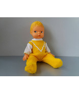 Newborn baby doll in yellow clothes Vintage German rubber doll boy Retro... - $27.00