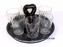 Greensburg Black Glass Heart CHS Tray, 6 Honeycomb Optic Shotglass Cordials 1930 - $29.59
