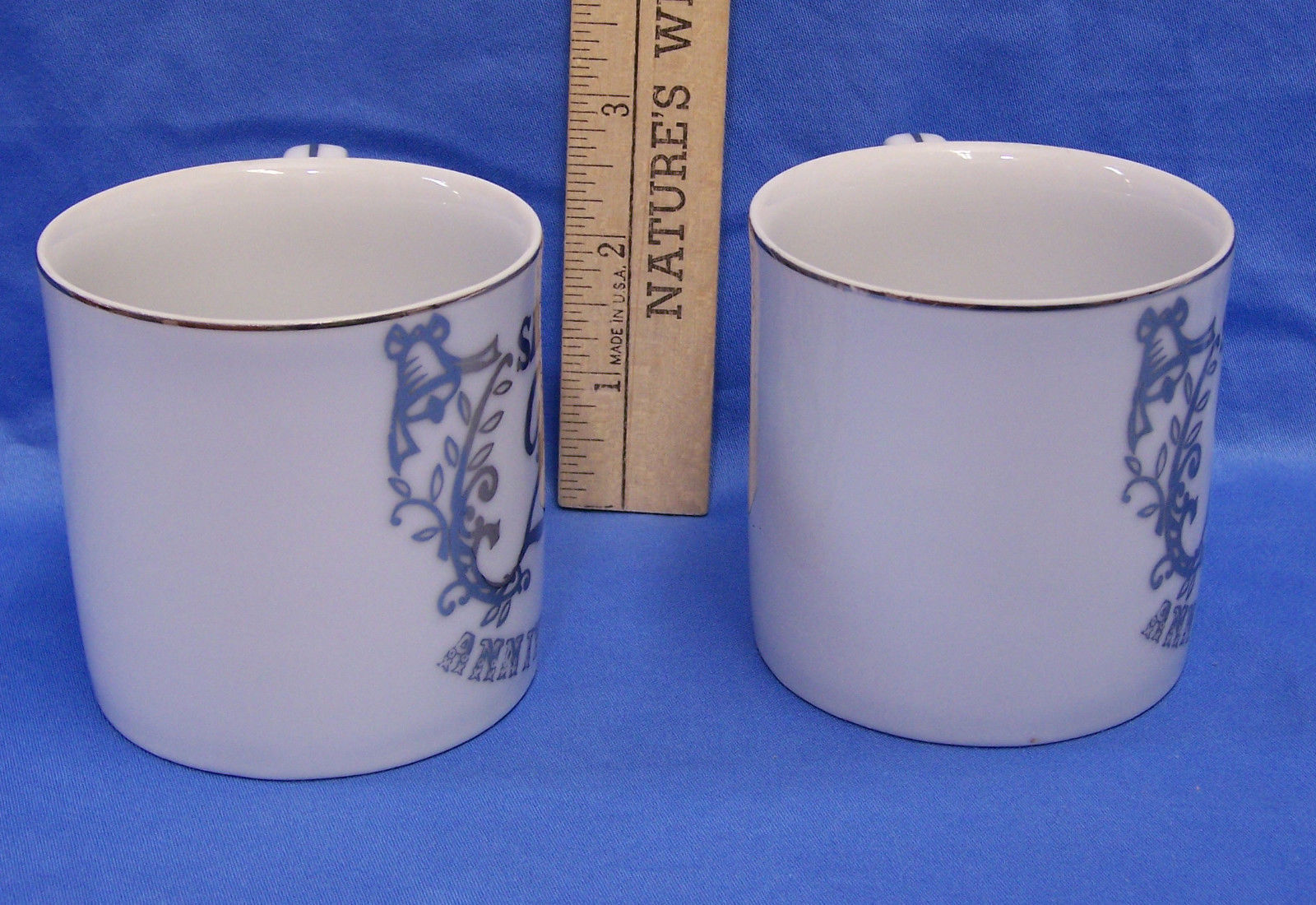 Set Pair 2 Vintage 25th Wedding Anniversary Cups Mugs Silver Trim on White Gifts