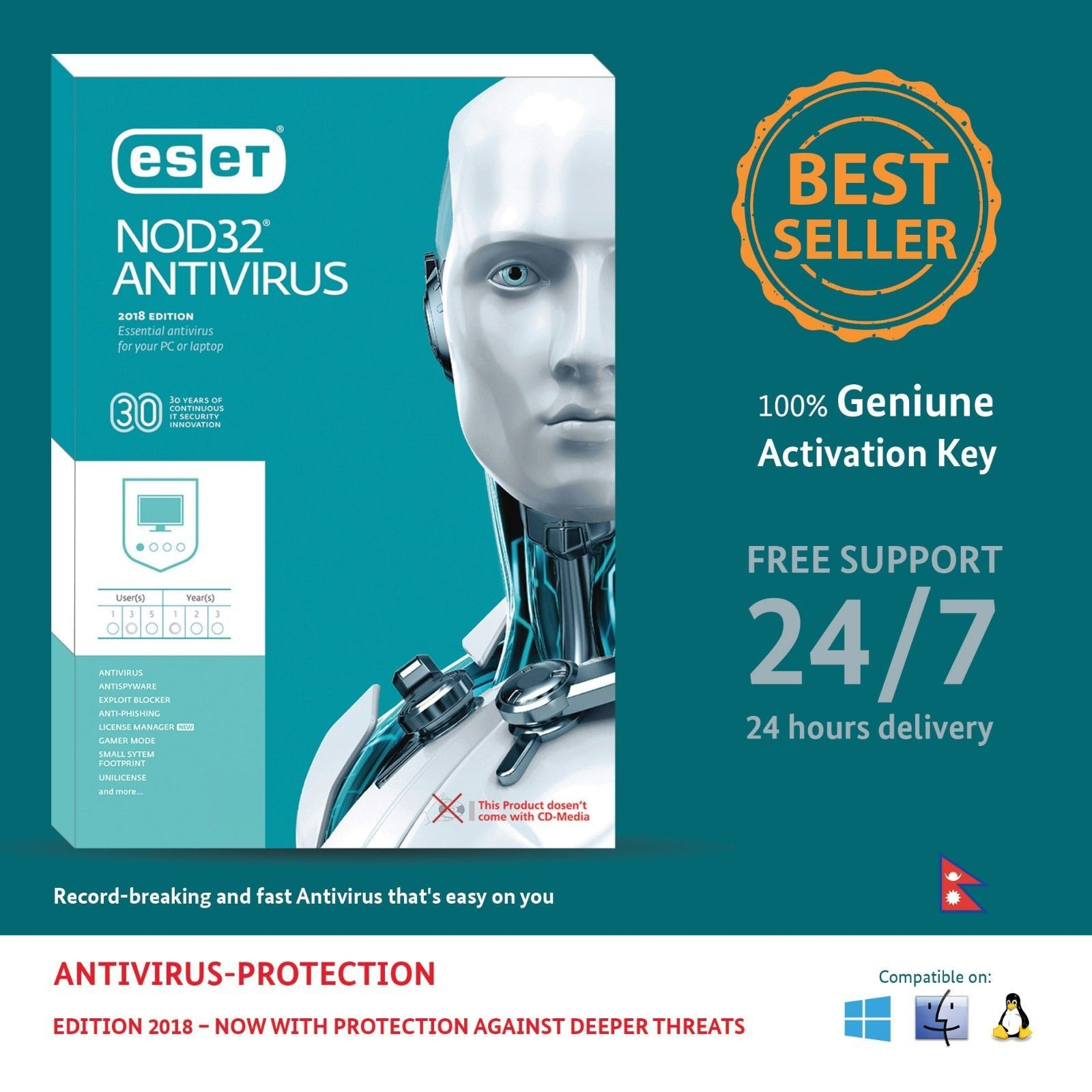 Primary image for Antivirus ESET NOD32 2018,1/3 PCs for 1 Year- Nepal License Key in eBay Message