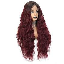 Long Wavy Lace Front Wigs For Women 24 Inch Deep Wave Wig Ombre Burgundy Synthet image 7
