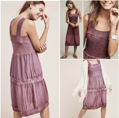 Primary image for E By Eloise M Silk and Sweater Chemise Dress Slip Shift Purple Sleeveless