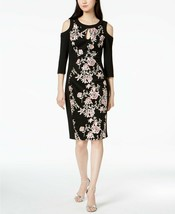 JAX Women's Black Floral Embroidered Cold Shoulder Cut-Out Dress Size 8 $179 - $54.45