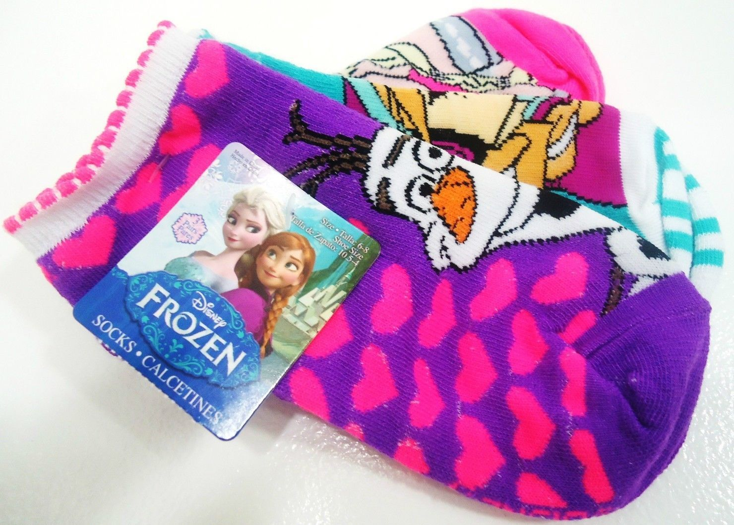 DISNEY - FROZEN - GIRL'S - (3) PACK - SOCKS - PURPLE - PINK - AQUA - BRAND NEW