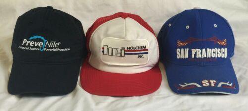 Vintage Lot (3) Embroidered Snapback Trucker Hat Cap Baseball Prevenile HCI CA