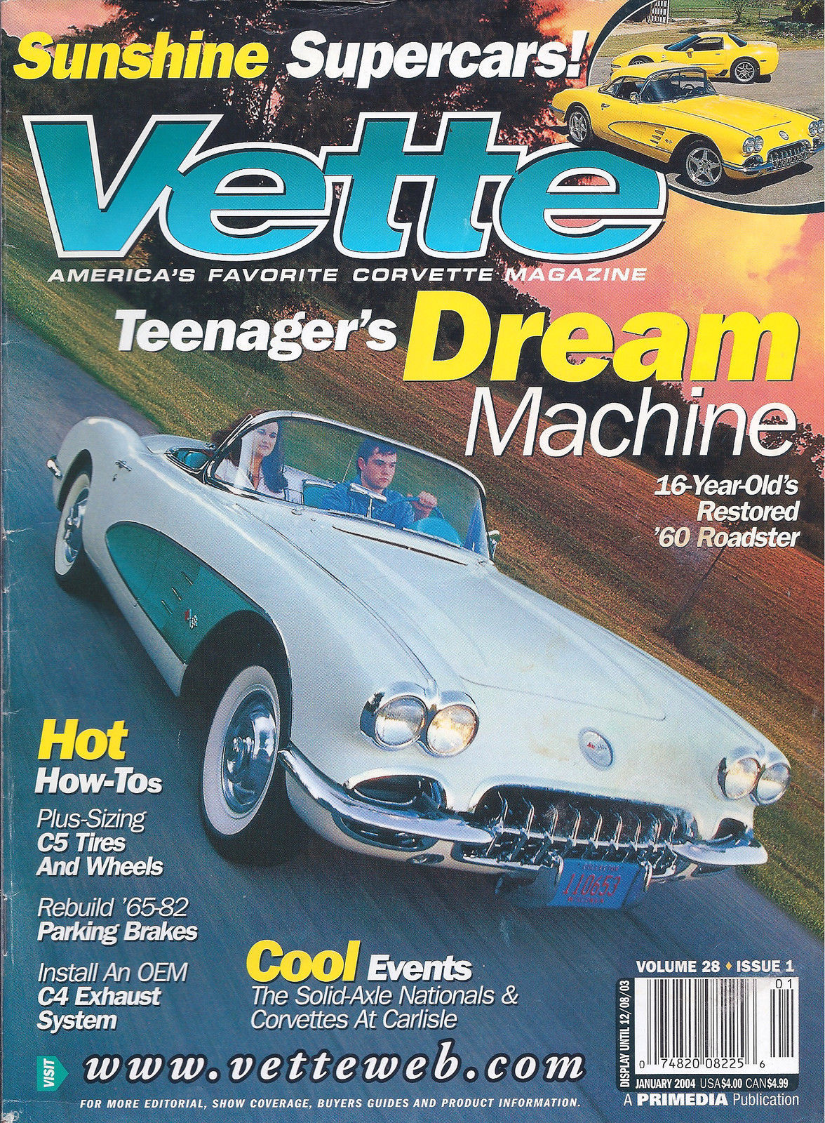 Primary image for Vette Magazine January 2004 Sunshine Supercars! '60 Roadster