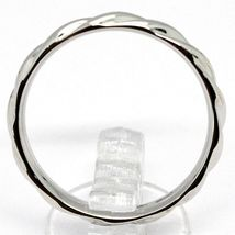 18K WHITE GOLD BAND BRAIDED RING, BRAID WOVEN, SMOOTH, MADE IN ITALY image 3