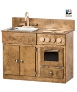 KITCHEN SINK STOVE & OVEN Amish Handmade Wood Play Furniture Harvest Finish USA - £279.31 GBP