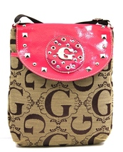 G Style Messenger Bag JACQUARD CROSSOVER Fuschia Purse Handbag Great 4 T... - $19.99