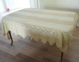 Antique Vtg Linen Matelasse Crochet Tablecloth Bedspread Coverlet Sawtoo... - $380.00
