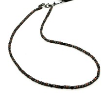 925 Sterling Silver Necklace Burnished with Hematite Satin Made in Italy by image 1