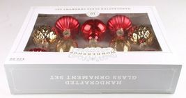 Wondershop 10 Piece Handcrafted Gold Red Glass Christmas Tree Ornaments Set NEW image 3