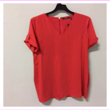 lauren ralph lauren women's short sleeve back zipper v neck top - $14.63