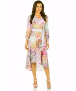 FLORAL DRESS A-LINE PARTY BELTED SUMMER 3/4 SLEEVE FLORAL MADE IN EUROPE - $135.00