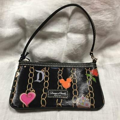 Primary image for Disney x Dooney & Bourke Pouchette Handbag charm pattern Pouch Wallet case Black