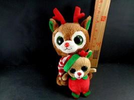 Lot of 2 TY Christmas Moose Comet & Merry Plush Stuffed Holiday Reindeer Xmas - $10.88