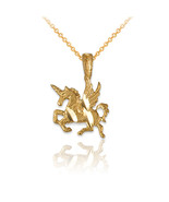 10K Yellow Gold Tiny Flying Unicorn DC Charm Necklace - $49.99+