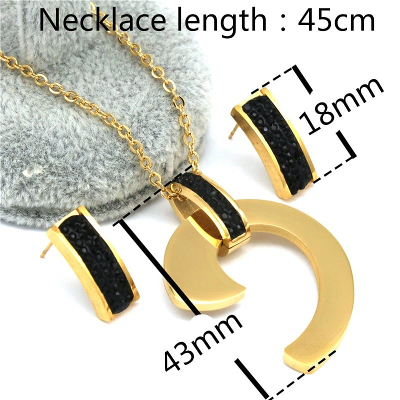 Black bule white zircon Earrings Necklace Sets Gold Color  stainless steel Jewel image 3