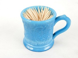 Cup/Toothpick Holder w/Handle, Blue Milk Glass, Grapes, Leaves & Vines, ... - $8.77