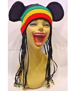 DISNEY PARKS MICKY MOUSE KNIT RASTA HAT WITH DREDS & EARS ADULT - $9.31
