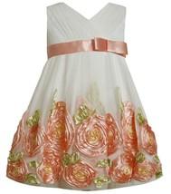 Bonnie Jean Little Girl 2T-6X Coral Ivory Cross Over Bonaz Rosette Border Dress