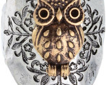 Owl Two Toned Hammered Design Stretch Ring Will Fit Sizes 8 and Up