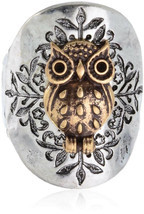 Owl Two Toned Hammered Design Stretch Ring Will Fit Sizes 8 and Up - $43.06