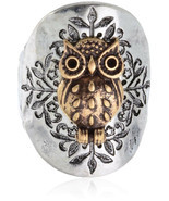 Owl Two Toned Hammered Design Stretch Ring Will Fit Sizes 8 and Up - £35.20 GBP