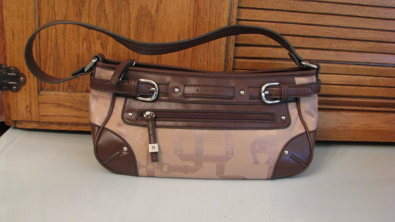 Primary image for Etienne Aigner Tan & Brown Signature Fabric Handbag PURSE Over Shoulder Bag
