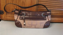 Etienne Aigner Tan & Brown Signature Fabric Handbag PURSE Over Shoulder Bag - $25.73
